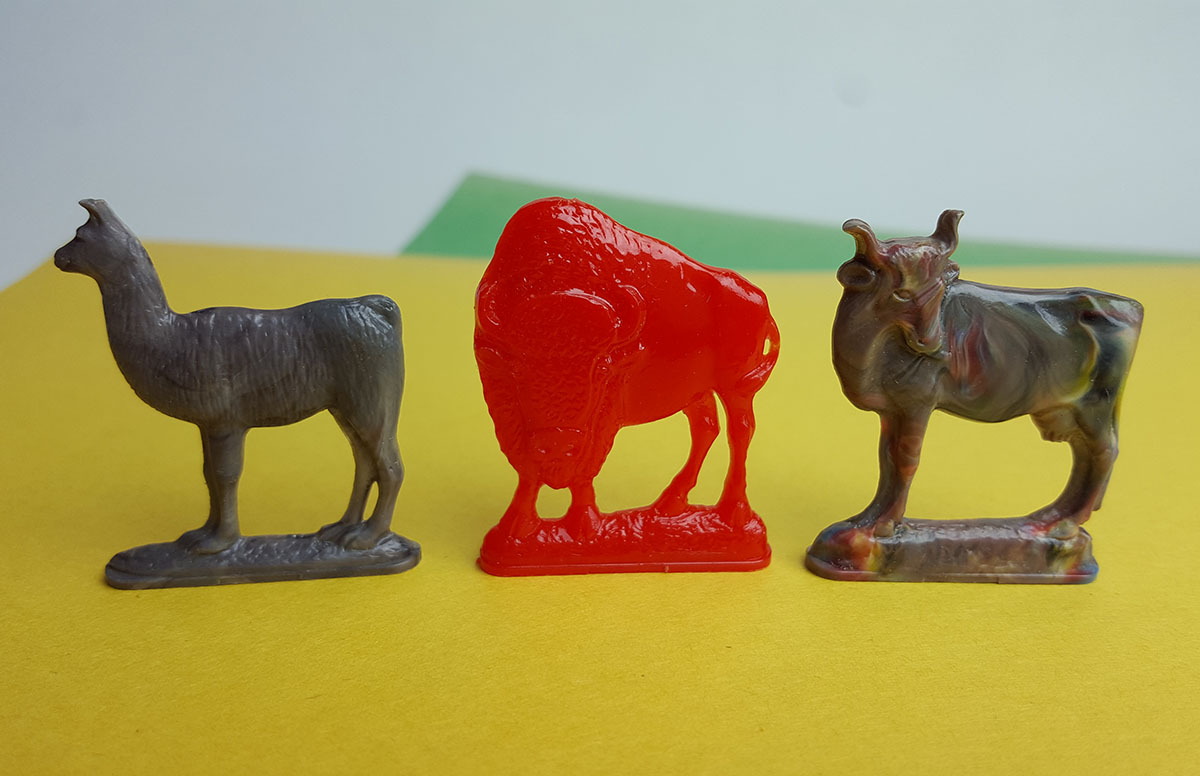 3 figures from the Cracker Jack Alphabet Animal set - alpaca cow buffalo